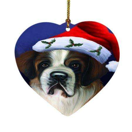 Christmas Saint Bernard Dog Holiday Portrait with Santa Hat Heart Ornament D002