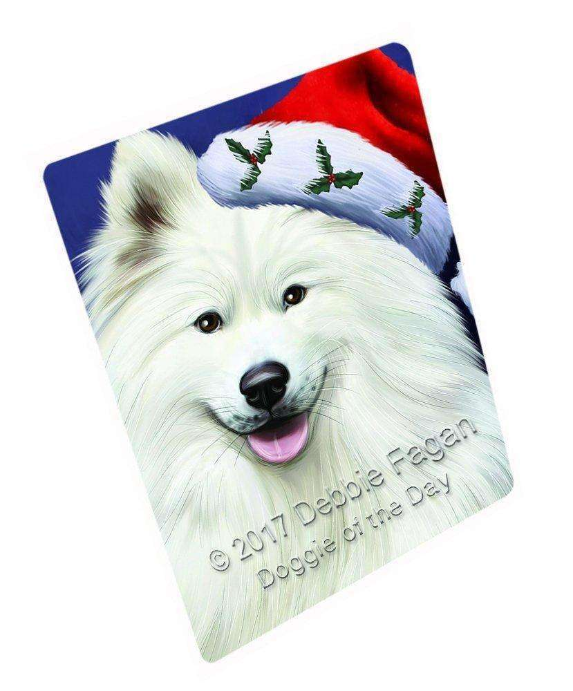 """Christmas Samoyed Dog Holiday Portrait With Santa Hat Magnet Small (5.5"""" x 4.25"""") d126"""