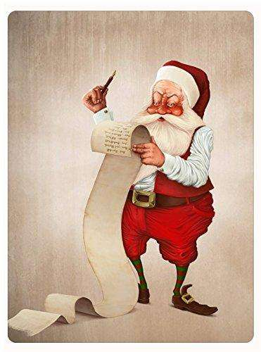 Christmas Santa Checking His List Tempered Cutting Board