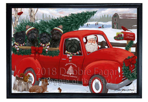 Christmas Santa Express Delivery Affenpinschers Dog Family Framed Canvas Print Wall Art FCVS168071