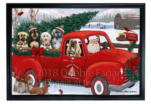 Christmas Santa Express Delivery Afghan Hounds Dog Family Framed Canvas Print Wall Art FCVS168088