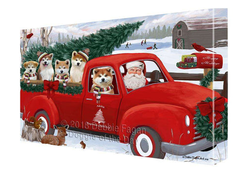 Christmas Santa Express Delivery Akitas Dog Family Canvas Print Wall Art Décor CVS112850
