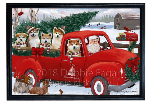 Christmas Santa Express Delivery Akitas Dog Family Framed Canvas Print Wall Art FCVS168122