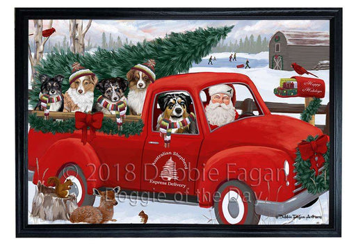 Christmas Santa Express Delivery Australian Shepherds Dog Family Framed Canvas Print Wall Art FCVS168241