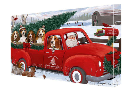 Christmas Santa Express Delivery Basset Hounds Dog Family Canvas Print Wall Art Décor CVS112931
