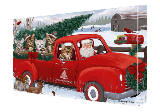 Christmas Santa Express Delivery Bengal Cats Family Canvas Print Wall Art Décor CVS112958