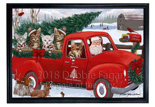 Christmas Santa Express Delivery Bengal Cats Family Framed Canvas Print Wall Art FCVS168326