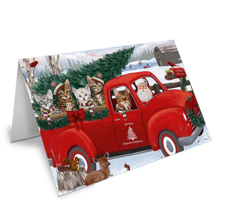 Christmas Santa Express Delivery Bengal Cats Family Greeting Card GCD68858