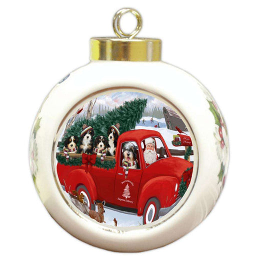 Christmas Santa Express Delivery Bernedoodles Dog Family Round Ball Christmas Ornament RBPOR55138