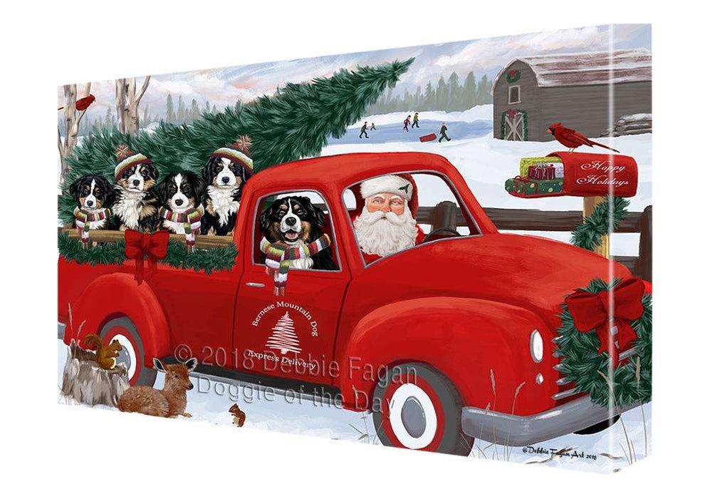 Christmas Santa Express Delivery Bernese Mountain Dogs Family Canvas Print Wall Art Décor CVS112976