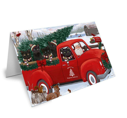 Christmas Santa Express Delivery Black Cats Family Greeting Card GCD68873