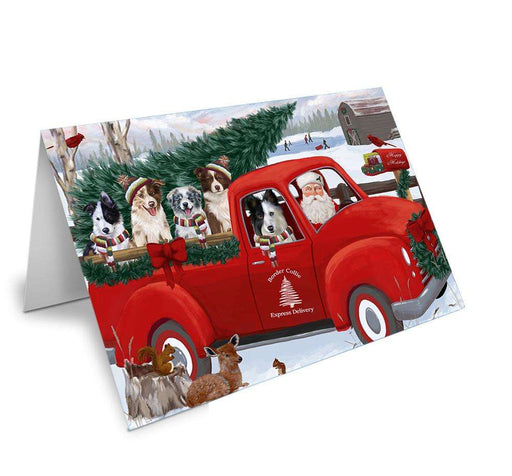 Christmas Santa Express Delivery Border Collies Dog Family Greeting Card GCD68882