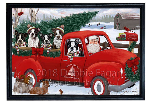 Christmas Santa Express Delivery Boston Terriers Dog Family Framed Canvas Print Wall Art FCVS168479