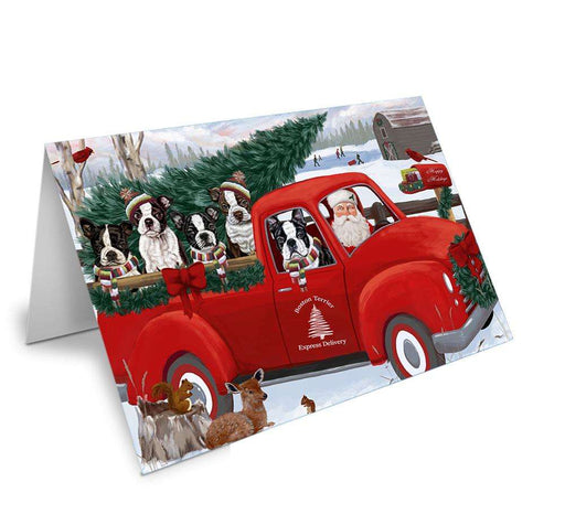 Christmas Santa Express Delivery Boston Terriers Dog Family Greeting Card GCD68885