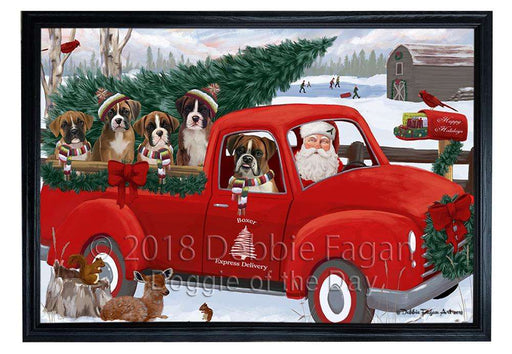 Christmas Santa Express Delivery Boxers Dog Family Framed Canvas Print Wall Art FCVS168496