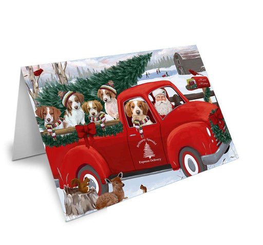 Christmas Santa Express Delivery Brittany Spaniels Dog Family Greeting Card GCD68891