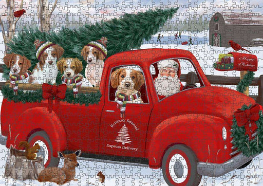 Christmas Santa Express Delivery Brittany Spaniels Dog Family Puzzle with Photo Tin PUZL87248