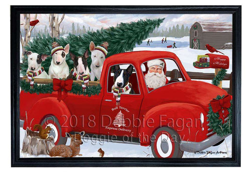 Christmas Santa Express Delivery Bull Terriers Dog Family Framed Canvas Print Wall Art FCVS168530