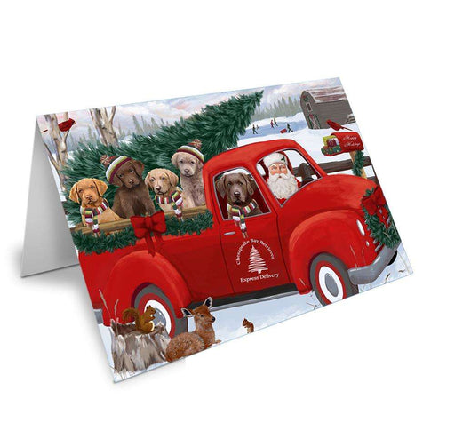 Christmas Santa Express Delivery Chesapeake Bay Retrievers Dog Family Greeting Card GCD68909