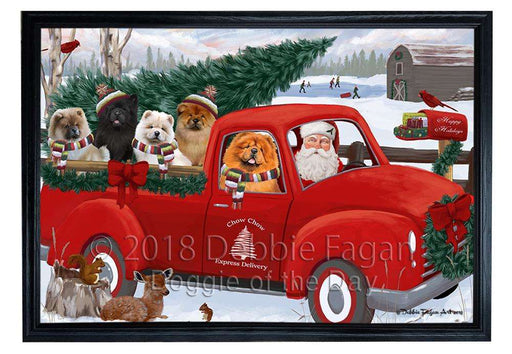 Christmas Santa Express Delivery Chow Chows Dog Family Framed Canvas Print Wall Art FCVS168649