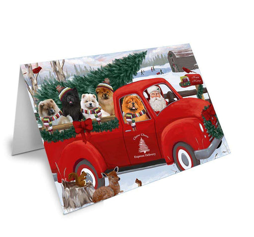 Christmas Santa Express Delivery Chow Chows Dog Family Greeting Card GCD68915
