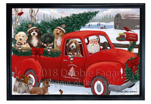 Christmas Santa Express Delivery Cockapoos Dog Family Framed Canvas Print Wall Art FCVS168666