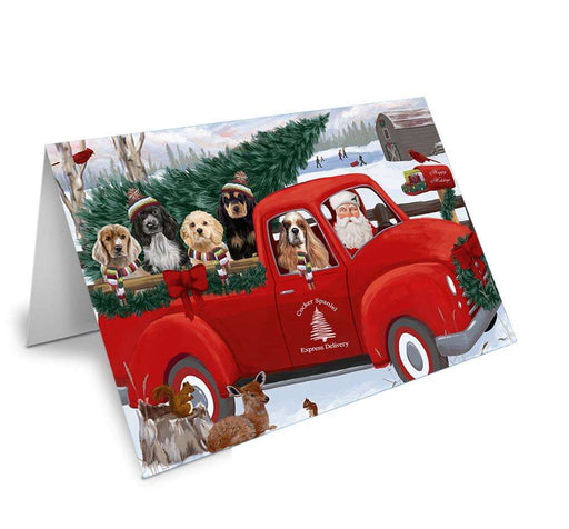 Christmas Santa Express Delivery Cocker Spaniels Dog Family Greeting Card GCD68921