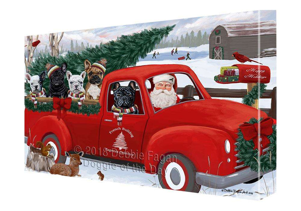 Christmas Santa Express Delivery French Bulldogs Family Canvas Print Wall Art Décor CVS113192