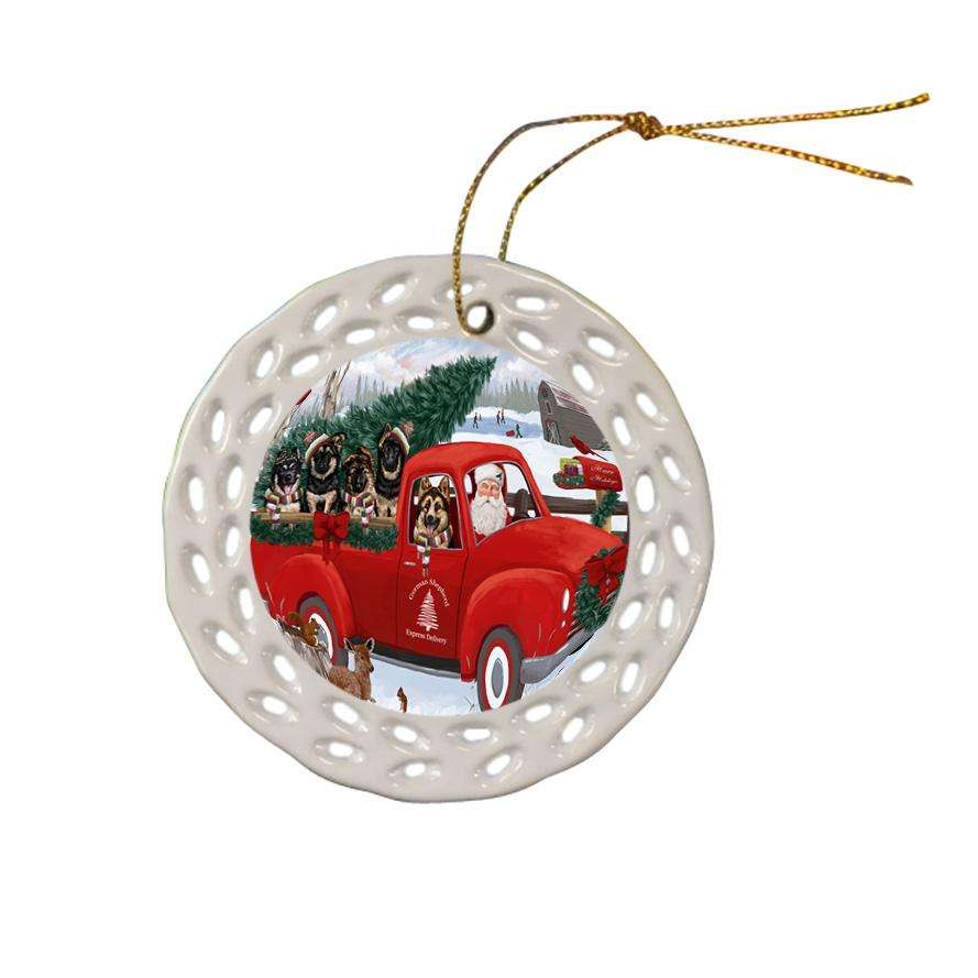 Christmas Santa Express Delivery German Shepherds Dog Family Ceramic Doily Ornament DPOR55164