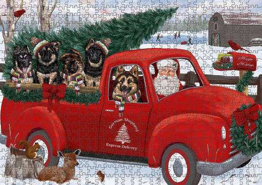 Christmas Santa Express Delivery German Shepherds Dog Family Puzzle with Photo Tin PUZL87312