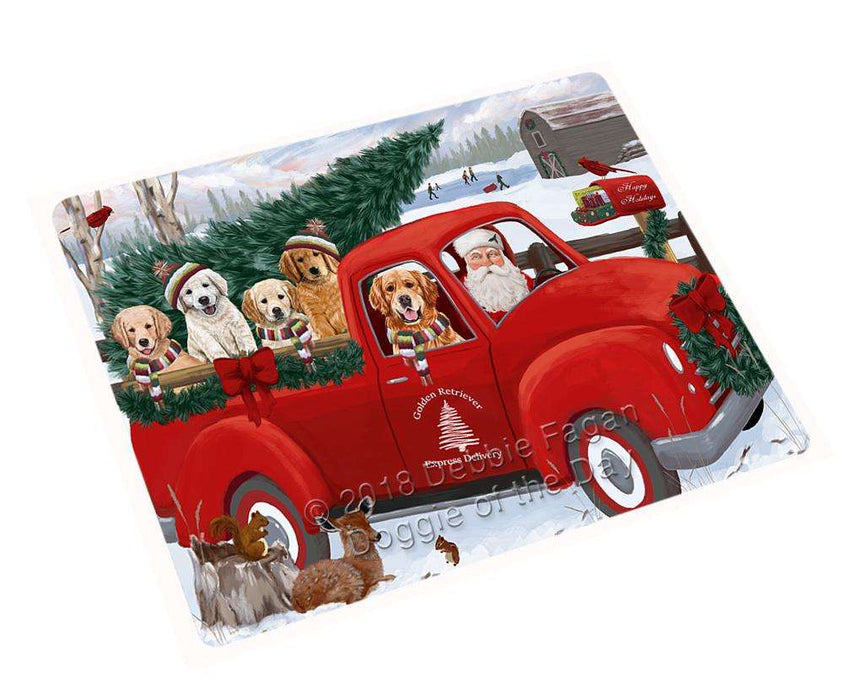 "Christmas Santa Express Delivery Golden Retrievers Dog Family Magnet MAG69564 DNSX (Mini 3.5"" x 2"")"