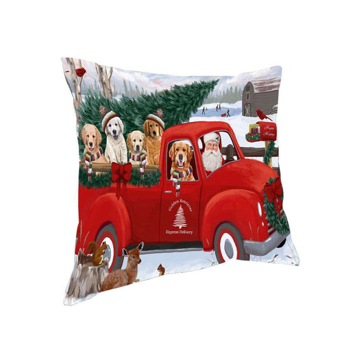 Christmas Santa Express Delivery Golden Retrievers Dog Family Pillow PIL76508