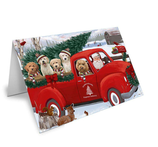 Christmas Santa Express Delivery Goldendoodles Dog Family Greeting Card GCD68945