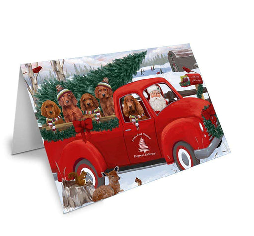 Christmas Santa Express Delivery Irish Red Setters Dog Family Greeting Card GCD68960