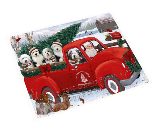 Christmas Santa Express Delivery Old English Sheepdogs Family Cutting Board C69606
