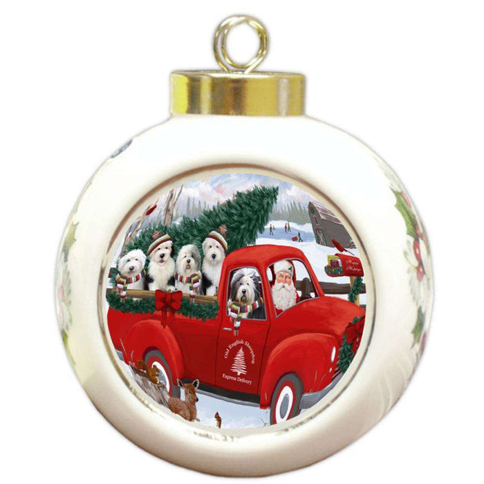 Christmas Santa Express Delivery Old English Sheepdogs Family Round Ball Christmas Ornament RBPOR55179