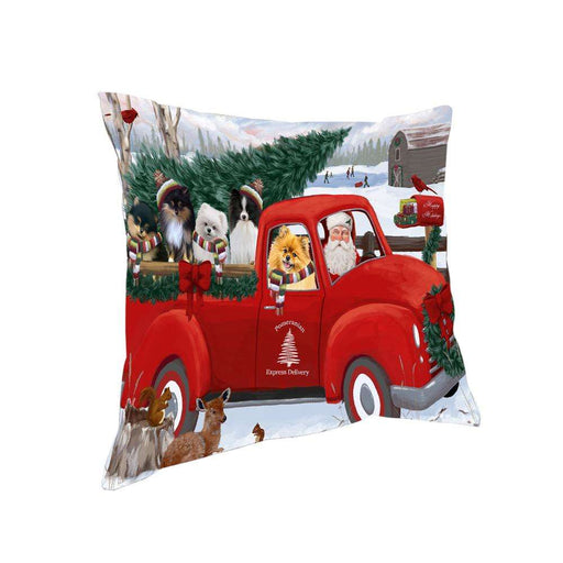 Christmas Santa Express Delivery Pomeranians Dog Family Pillow PIL76580