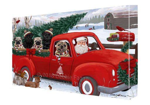 Christmas Santa Express Delivery Pugs Dog Family Canvas Print Wall Art Décor CVS113390