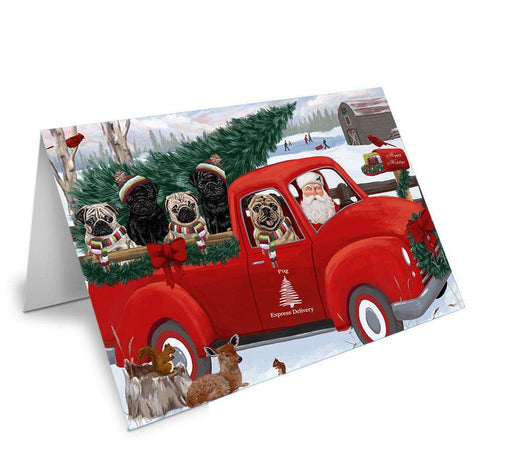 Christmas Santa Express Delivery Pugs Dog Family Greeting Card GCD69002