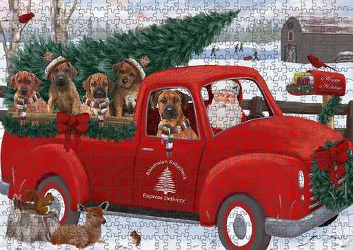 Christmas Santa Express Delivery Rhodesian Ridgebacks Dog Family Puzzle with Photo Tin PUZL87404