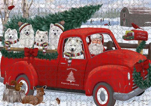 Christmas Santa Express Delivery Samoyeds Dog Family Puzzle with Photo Tin PUZL87420