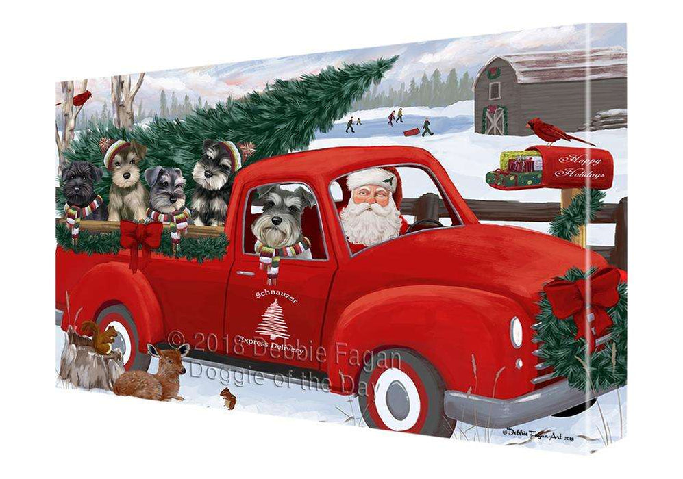 Christmas Santa Express Delivery Schnauzers Dog Family Canvas Print Wall Art Décor CVS113453