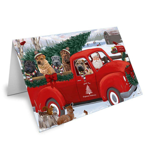 Christmas Santa Express Delivery Shar Peis Dog Family Greeting Card GCD69029