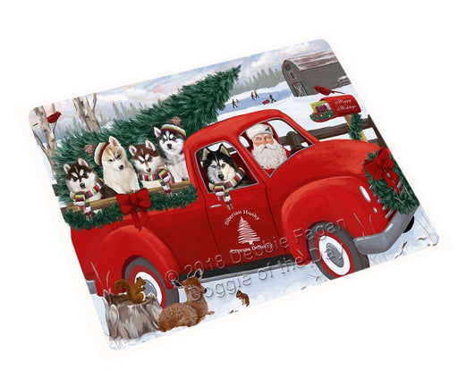 Christmas Santa Express Delivery Siberian Huskies Dog Family Cutting Board C69666