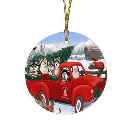 Christmas Santa Express Delivery Siberian Huskies Dog Family Round Flat Christmas Ornament RFPOR55190