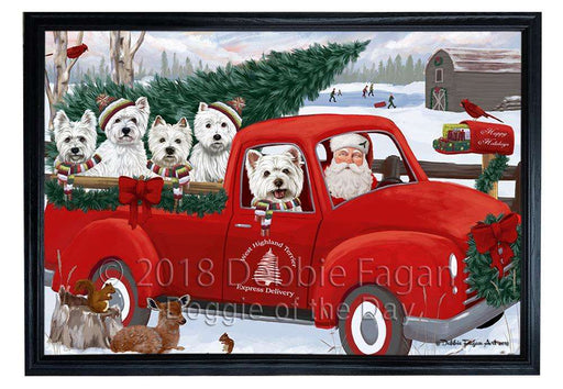 Christmas Santa Express Delivery West Highland Terriers Dog Family Framed Canvas Print Wall Art FCVS169499