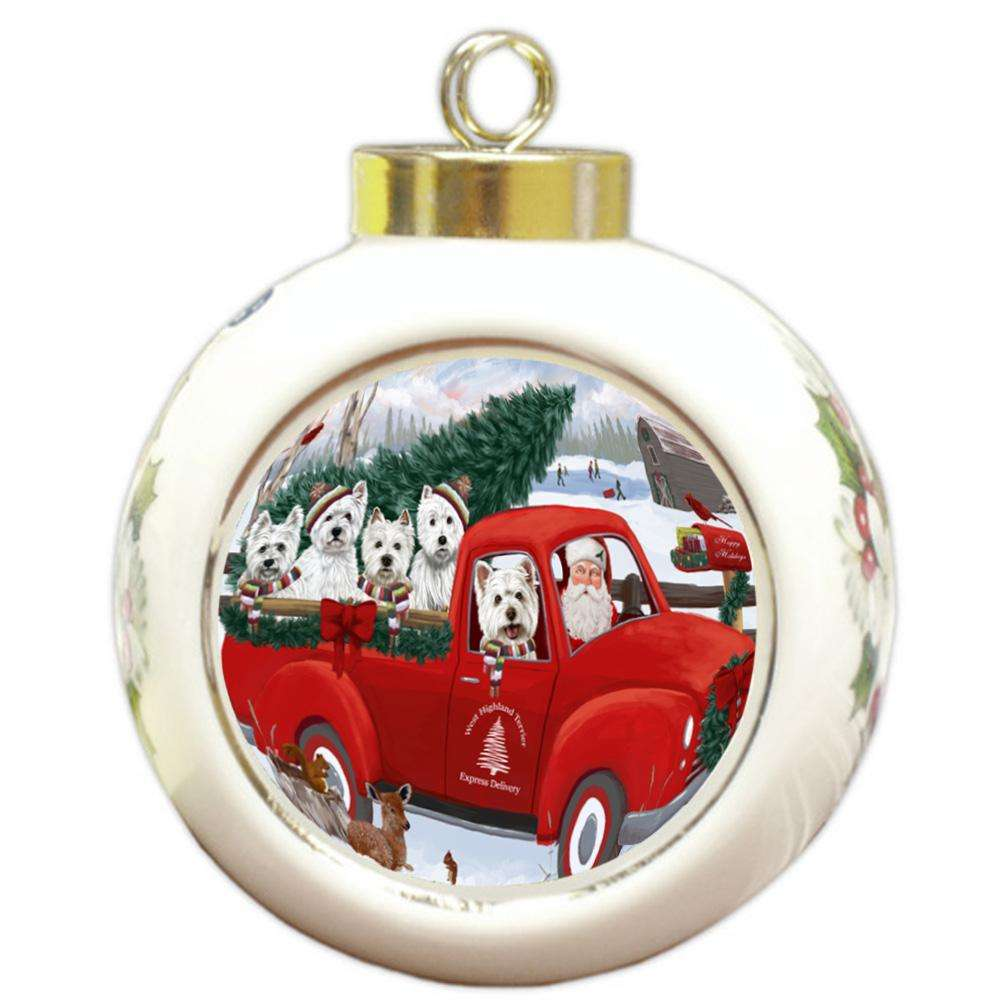 Christmas Santa Express Delivery West Highland Terriers Dog Family Round Ball Christmas Ornament RBPOR55206