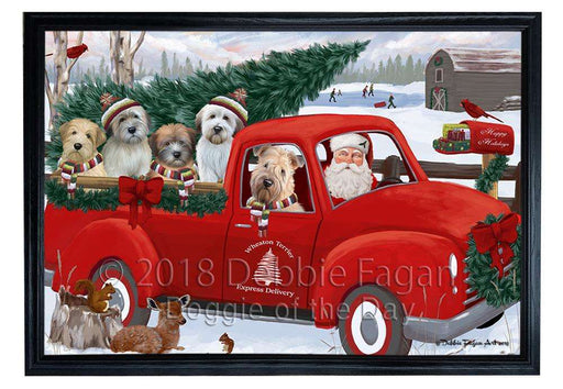 Christmas Santa Express Delivery Wheaton Terriers Dog Family Framed Canvas Print Wall Art FCVS169516
