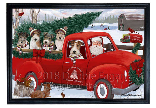 Christmas Santa Express Delivery Wire Fox Terriers Dog Family Framed Canvas Print Wall Art FCVS169533