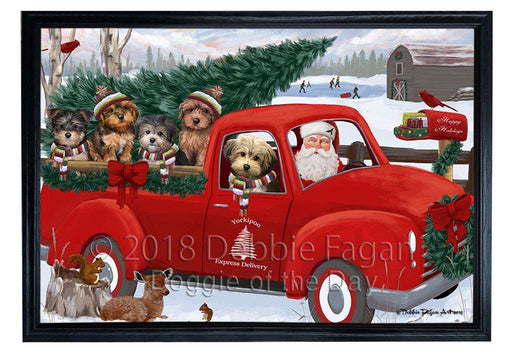 Christmas Santa Express Delivery Yorkipoos Dog Family Framed Canvas Print Wall Art FCVS169550